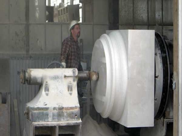 Lathe Operator Turning Limestone